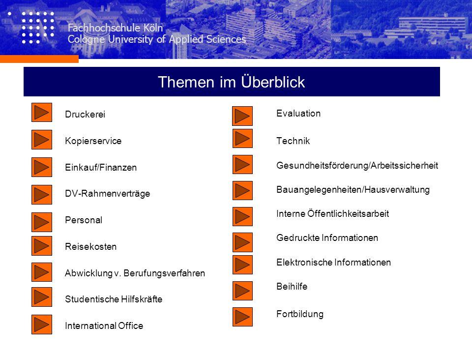 Themen im Überblick Fachhochschule Köln