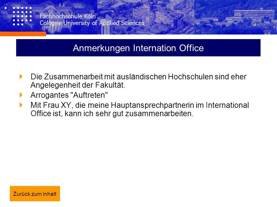 Anmerkungen Internation Office