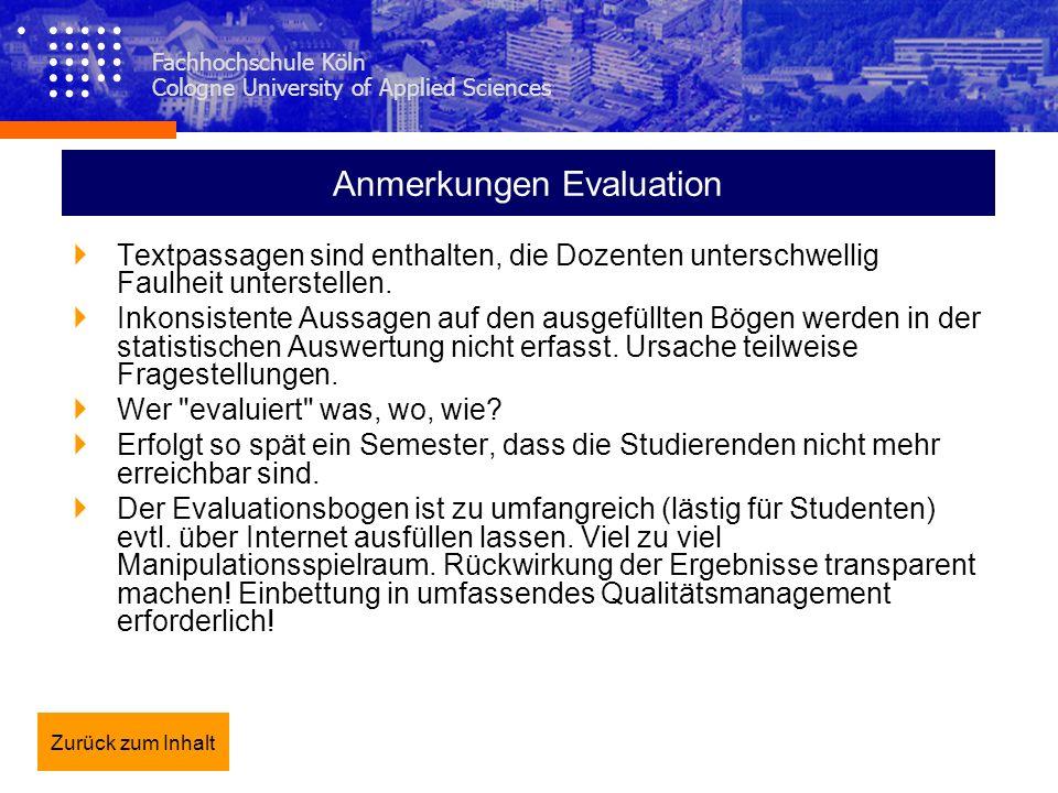 Anmerkungen Evaluation