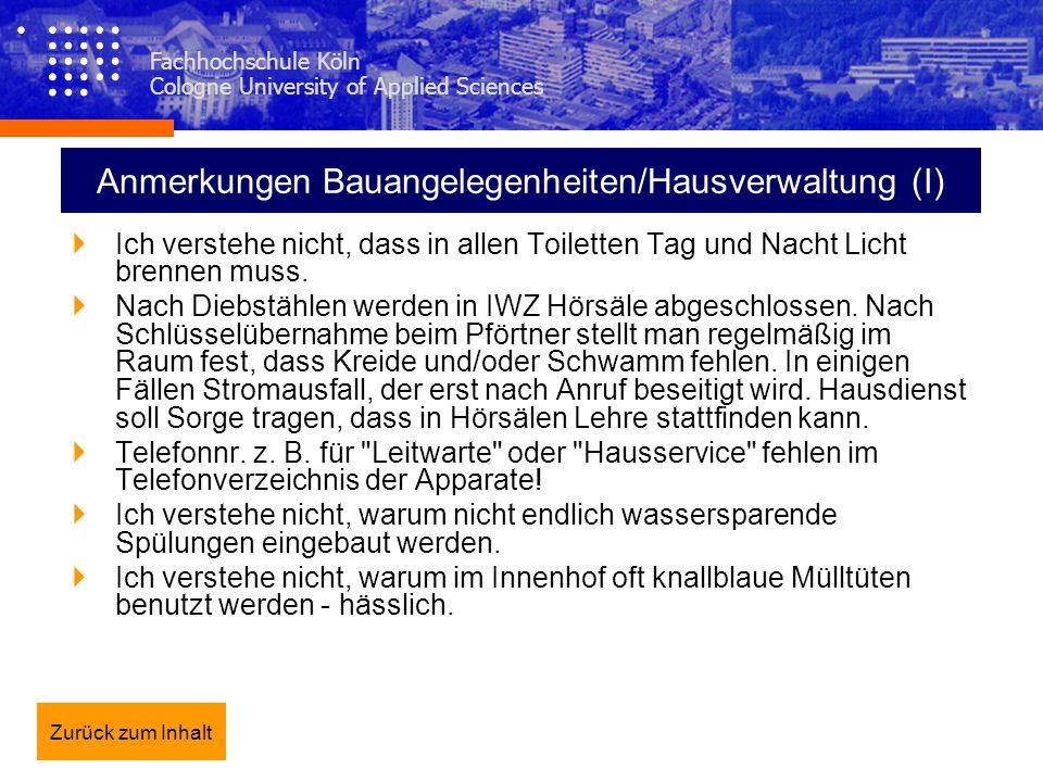 Anmerkungen Bauangelegenheiten/Hausverwaltung (I)