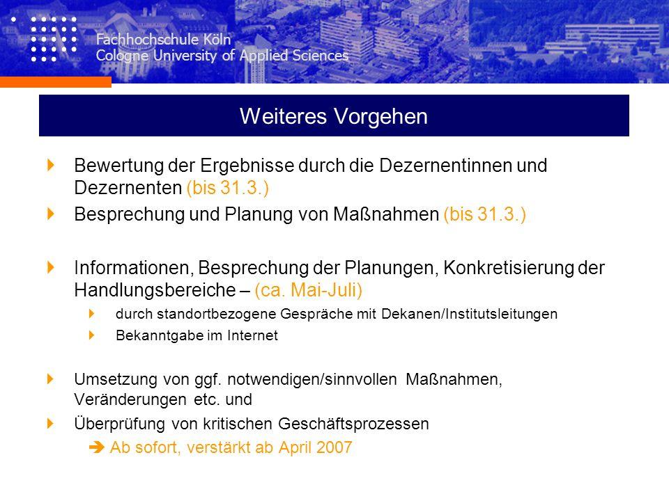 Weiteres Vorgehen Bewertung der Ergebnisse durch die Dezernentinnen und Dezernenten (bis 31.3.) Besprechung und Planung von Maßnahmen (bis 31.3.)