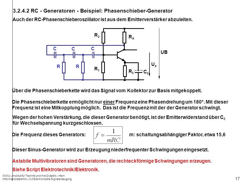 3.2.4.2 RC - Generatoren - Beispiel: Phasenschieber-Generator