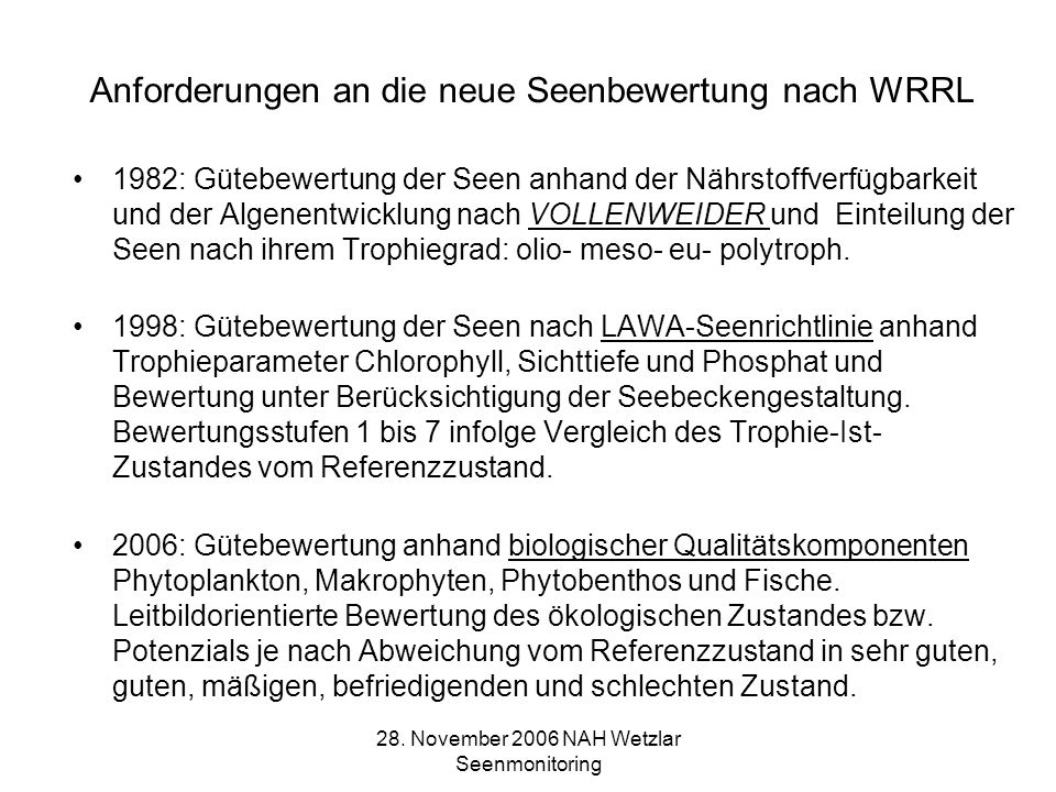 Anforderungen an die neue Seenbewertung nach WRRL