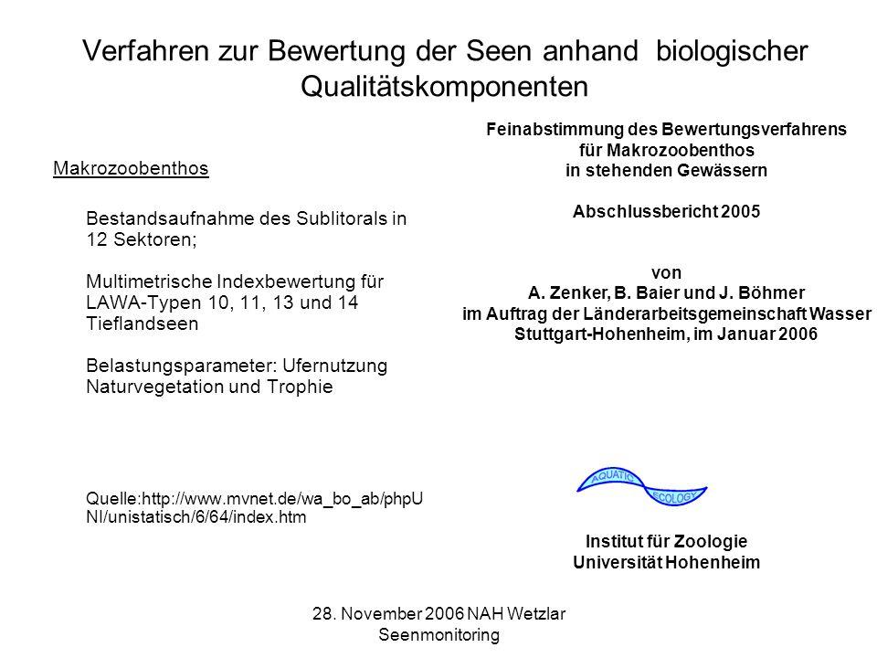 Verfahren zur Bewertung der Seen anhand biologischer Qualitätskomponenten