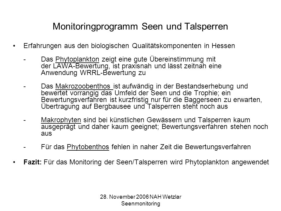Monitoringprogramm Seen und Talsperren