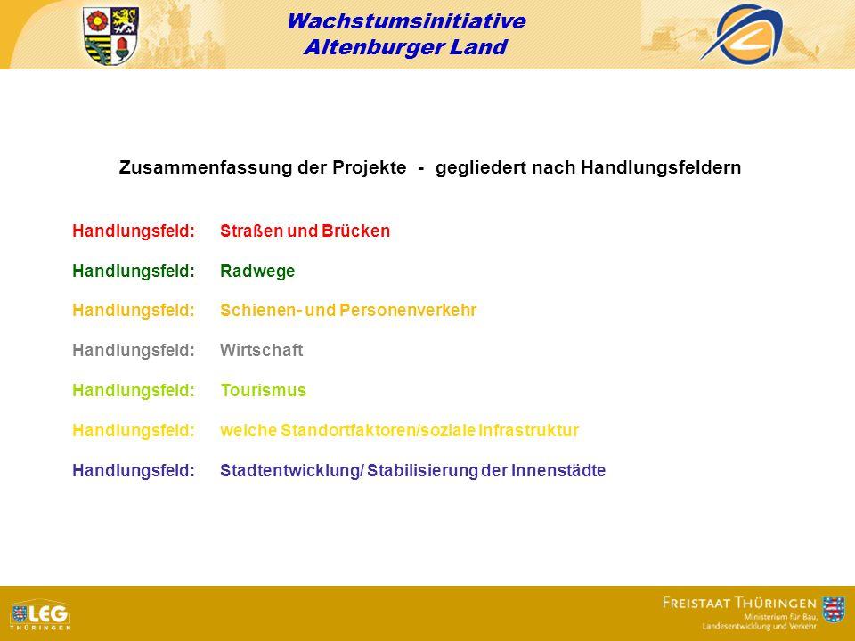 Zusammenfassung der Projekte - gegliedert nach Handlungsfeldern