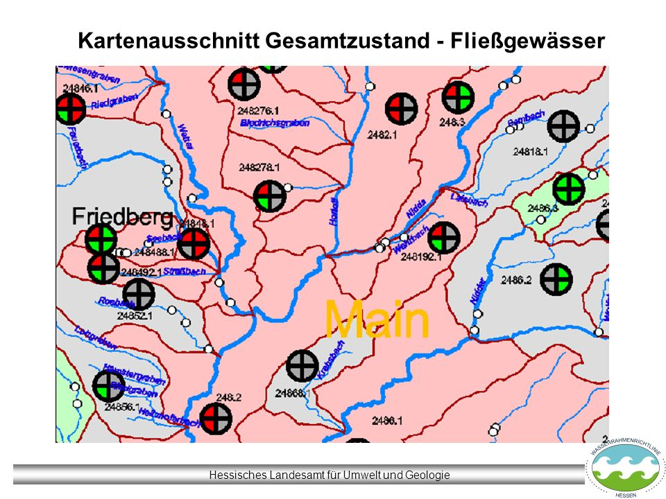 Kartenausschnitt Gesamtzustand - Fließgewässer