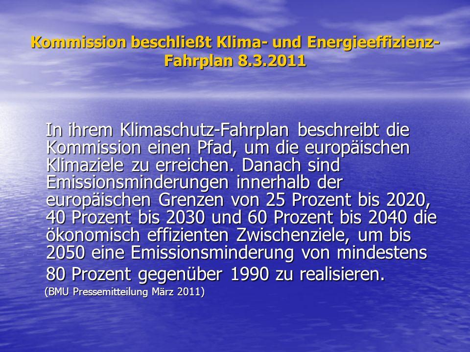 Kommission beschließt Klima- und Energieeffizienz-Fahrplan 8.3.2011