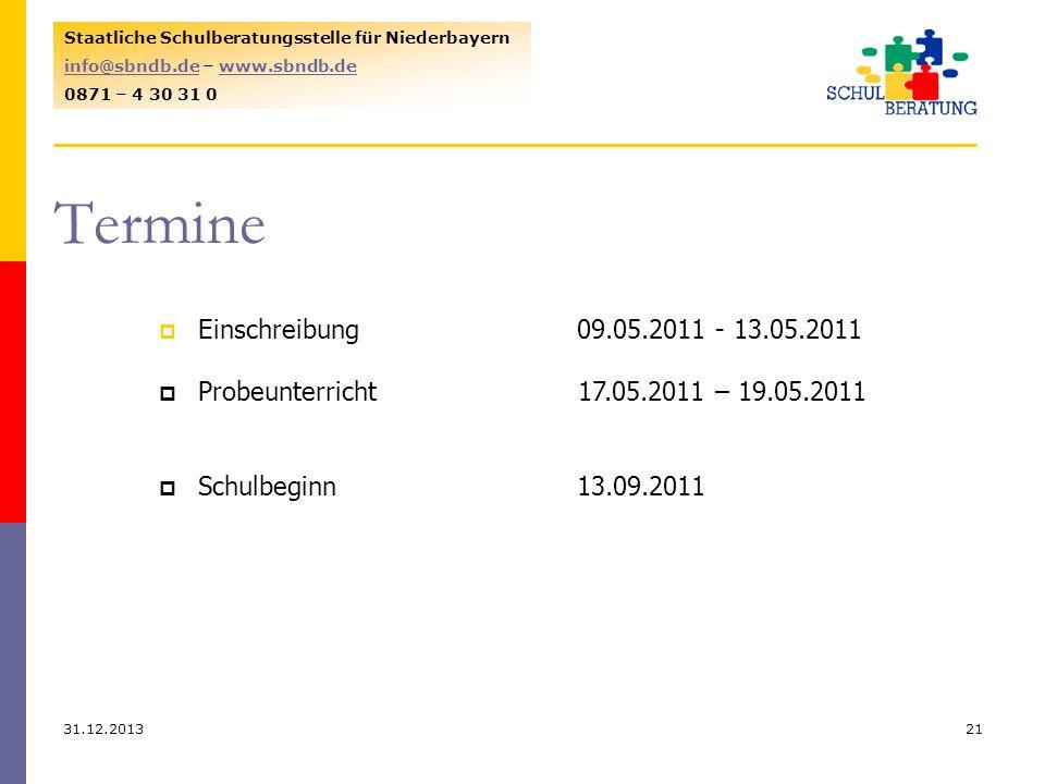Termine Einschreibung 09.05.2011 - 13.05.2011