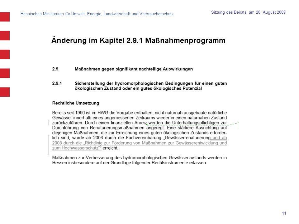 Änderung im Kapitel 2.9.1 Maßnahmenprogramm