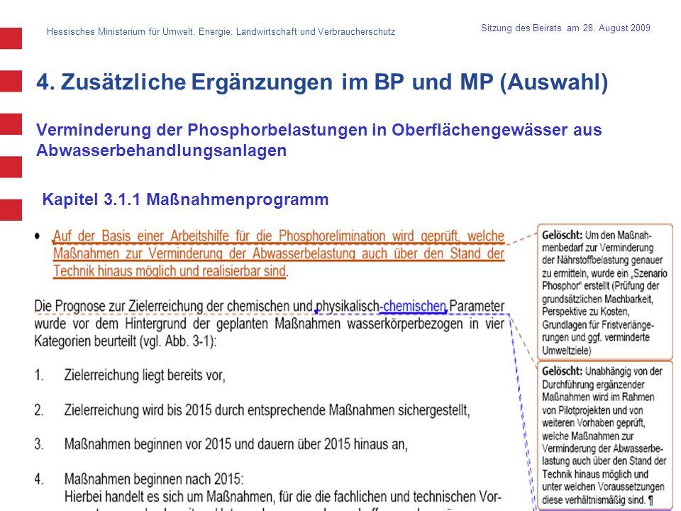 4. Zusätzliche Ergänzungen im BP und MP (Auswahl)