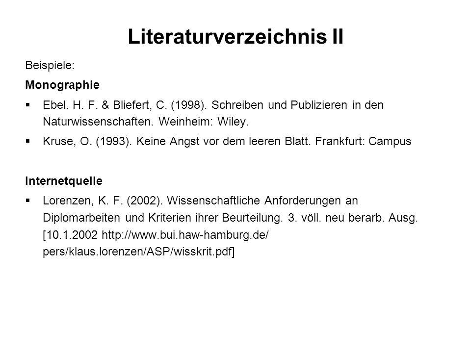 Literaturverzeichnis II