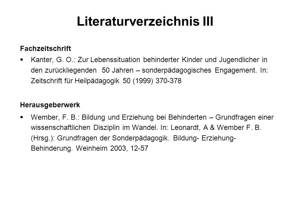 Literaturverzeichnis III