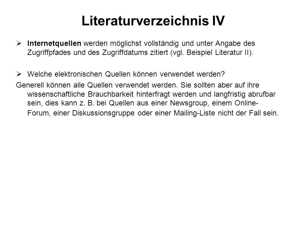 Literaturverzeichnis IV