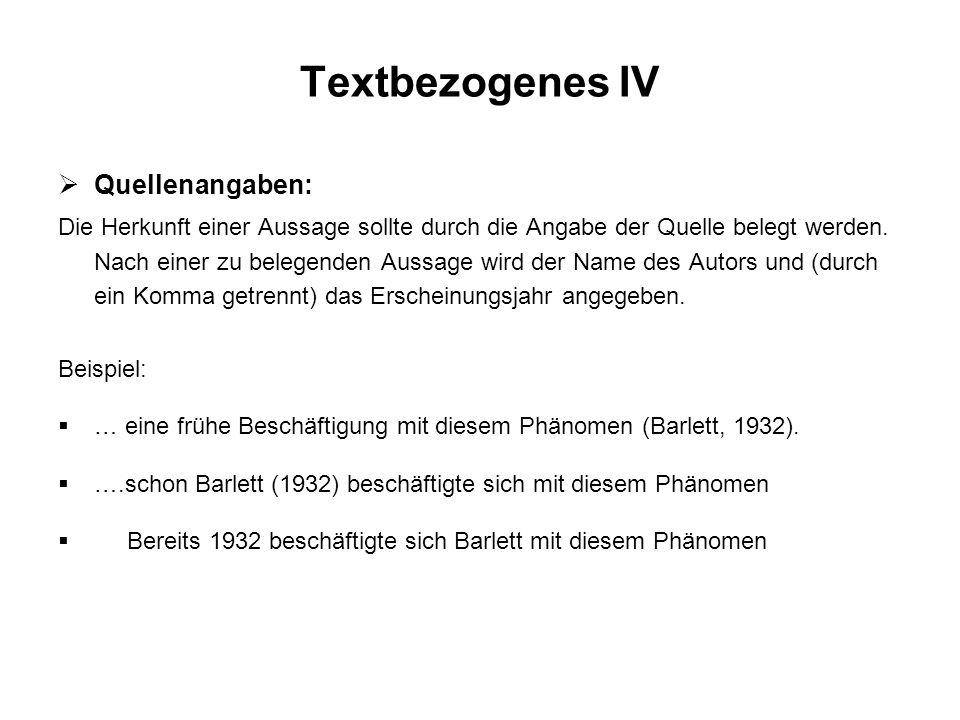 Textbezogenes IV Quellenangaben: