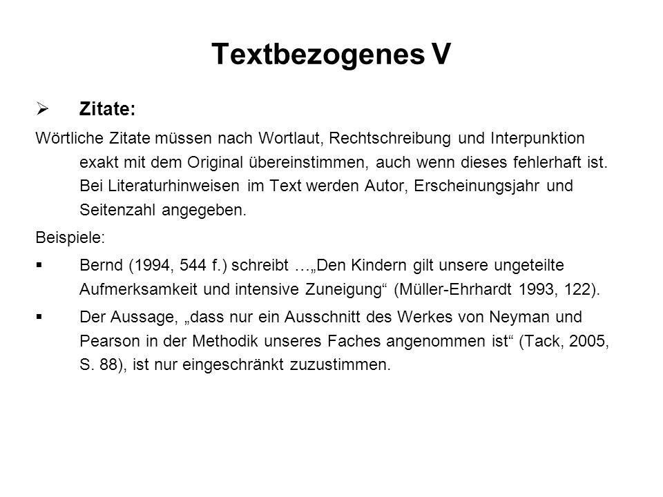 Textbezogenes V Zitate: