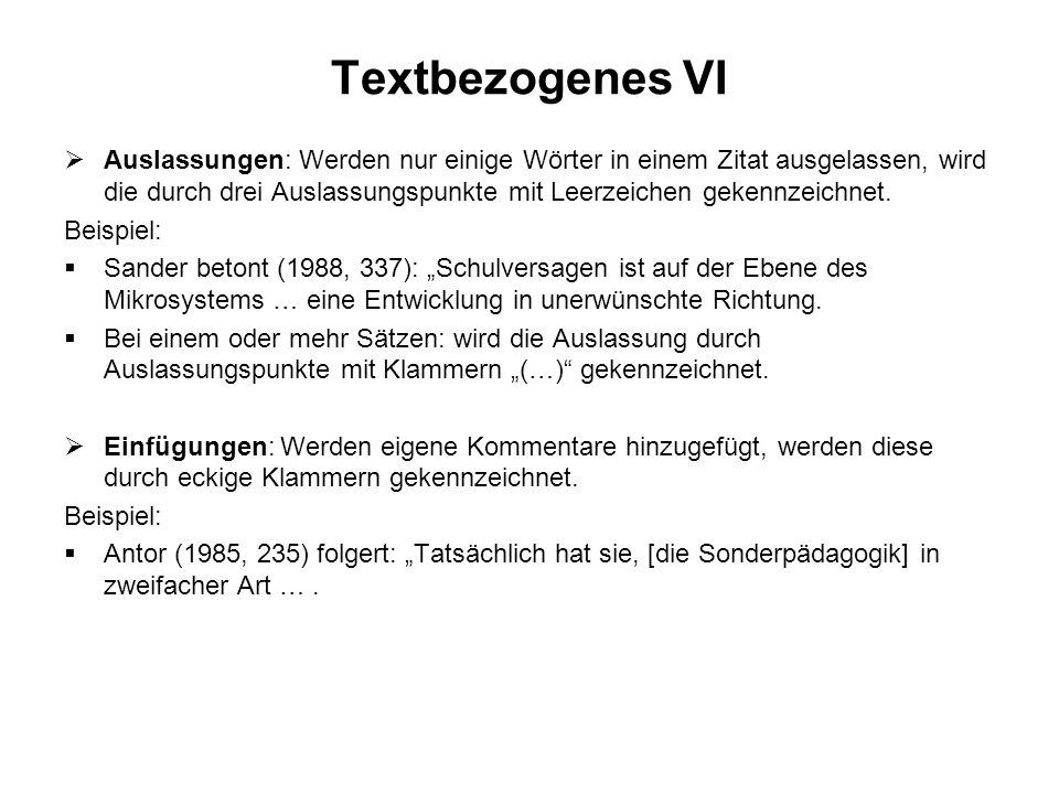Textbezogenes VI