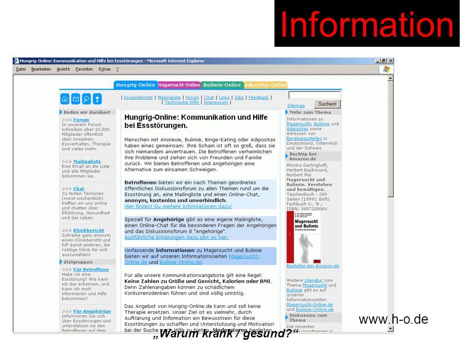 """Information www.h-o.de """"Warum krank / gesund"""
