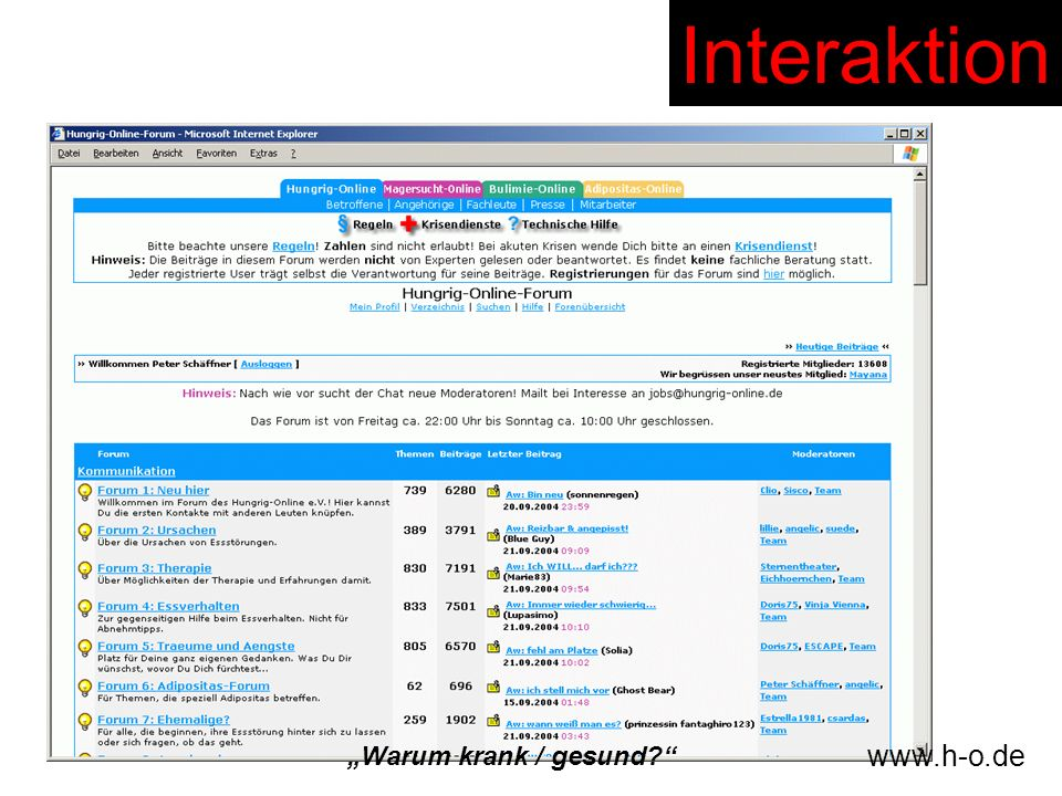 """Interaktion """"Warum krank / gesund www.h-o.de"""
