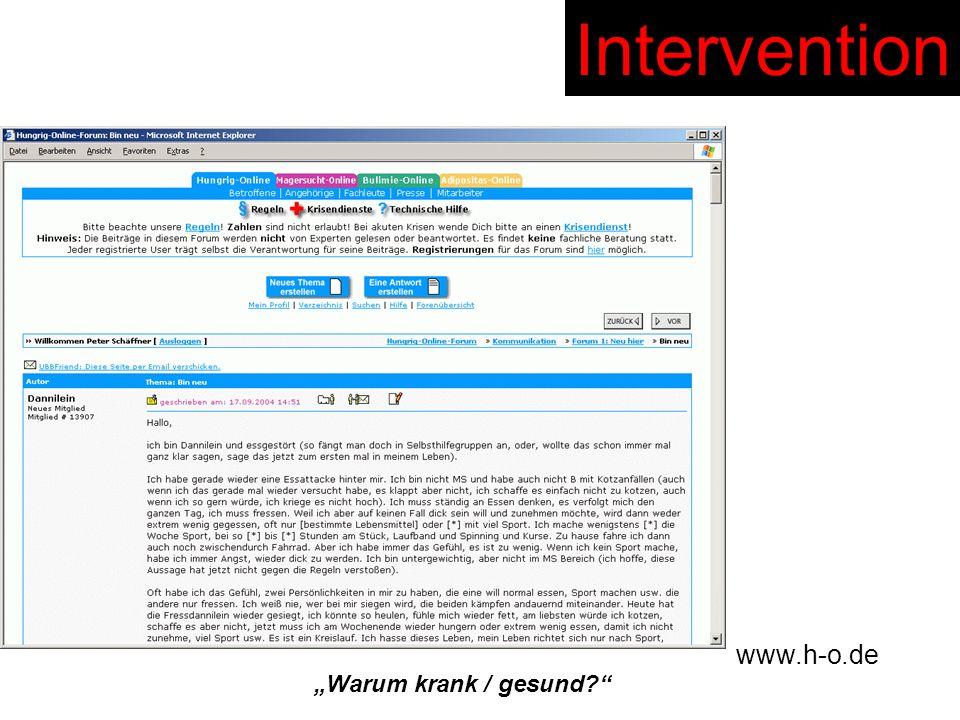 """Intervention www.h-o.de """"Warum krank / gesund"""