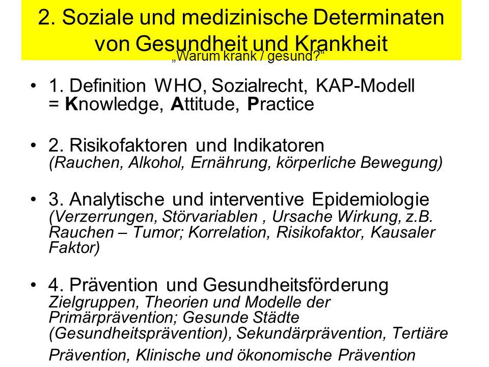 2. Soziale und medizinische Determinaten von Gesundheit und Krankheit
