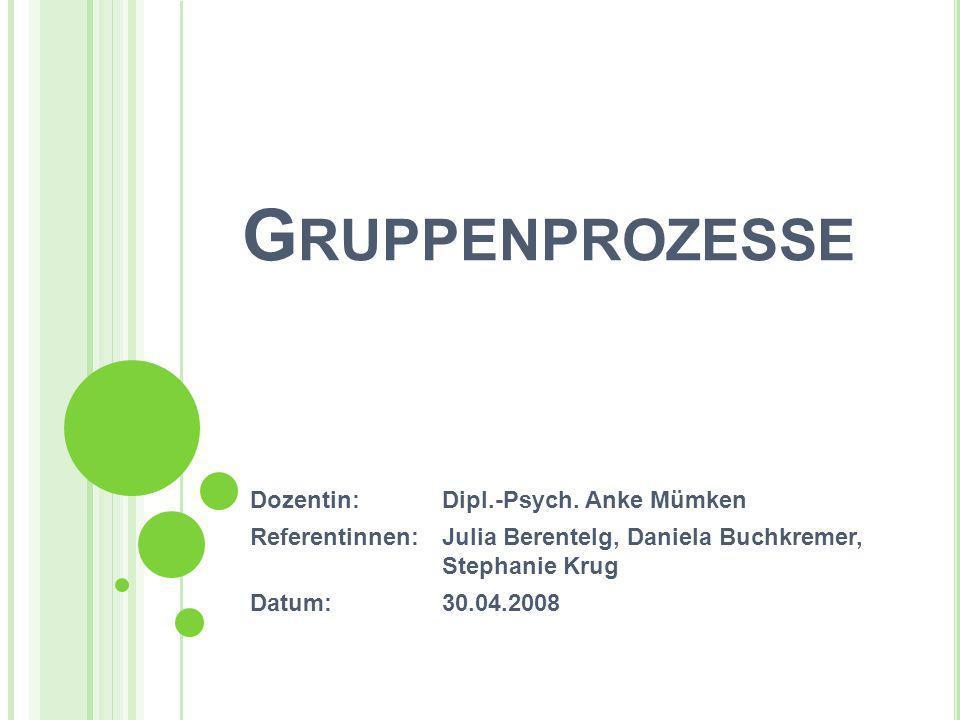 Gruppenprozesse Dozentin: Dipl.-Psych. Anke Mümken