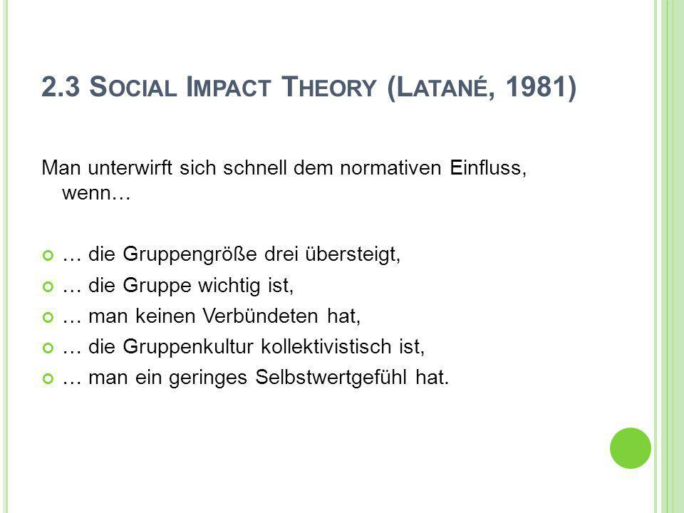 2.3 Social Impact Theory (Latané, 1981)