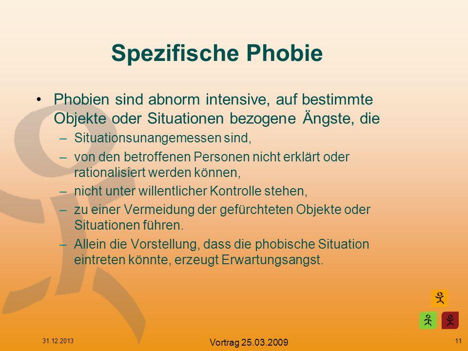 Spezifische Phobie Phobien sind abnorm intensive, auf bestimmte Objekte oder Situationen bezogene Ängste, die.