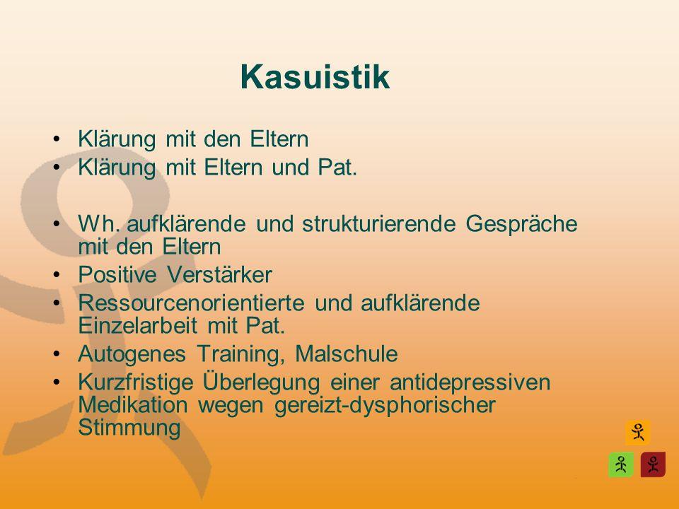 Kasuistik Klärung mit den Eltern Klärung mit Eltern und Pat.