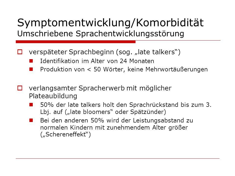 Symptomentwicklung/Komorbidität Umschriebene Sprachentwicklungsstörung