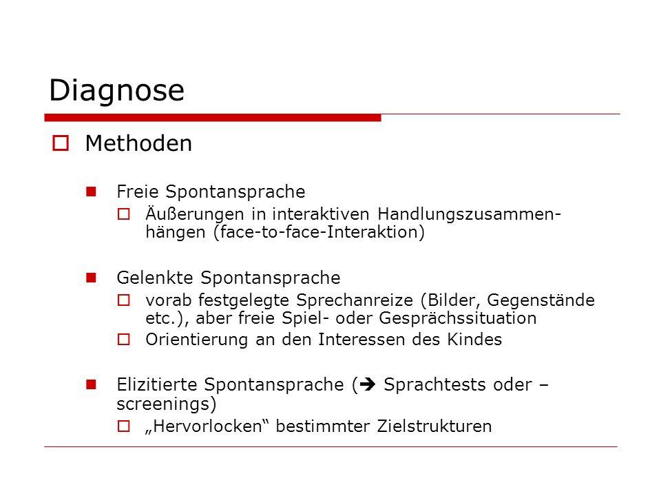 Diagnose Methoden Freie Spontansprache Gelenkte Spontansprache