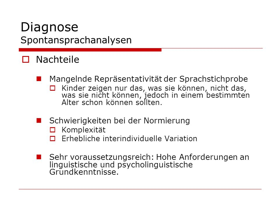 Diagnose Spontansprachanalysen