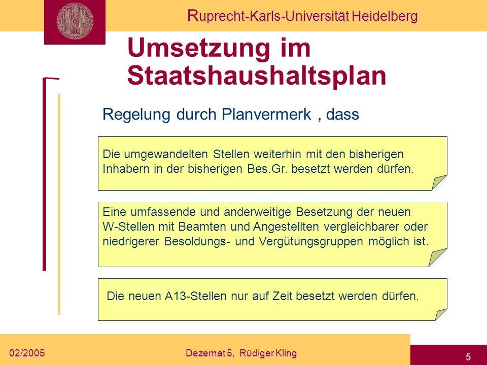 Umsetzung im Staatshaushaltsplan