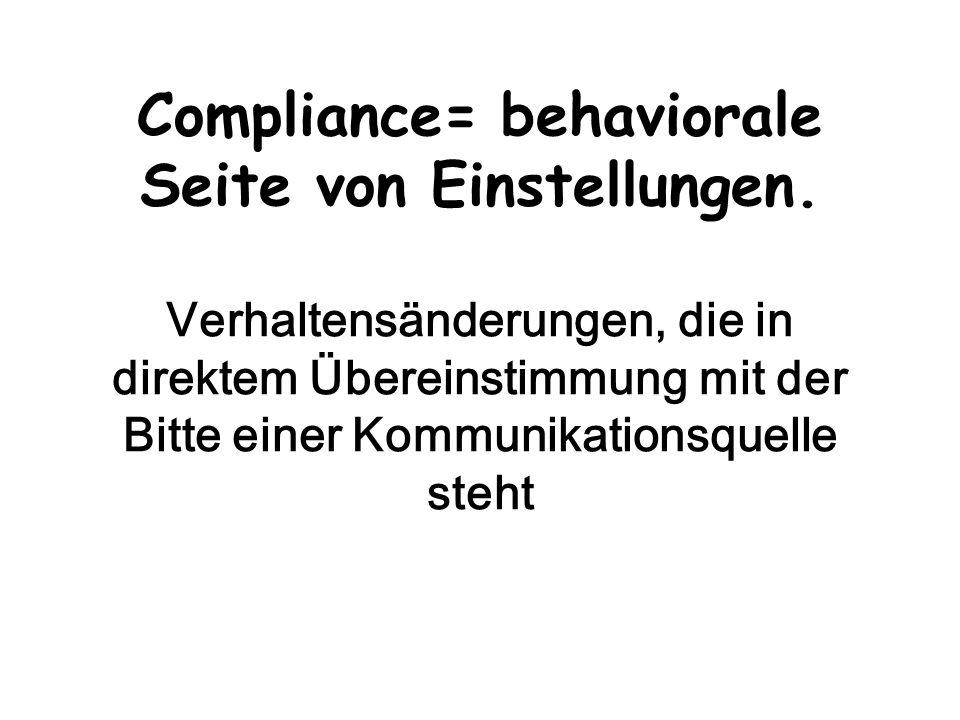 Compliance= behaviorale Seite von Einstellungen