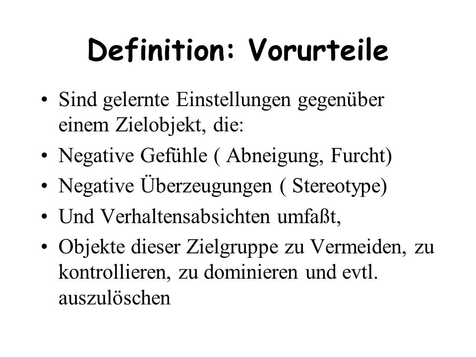 Definition: Vorurteile