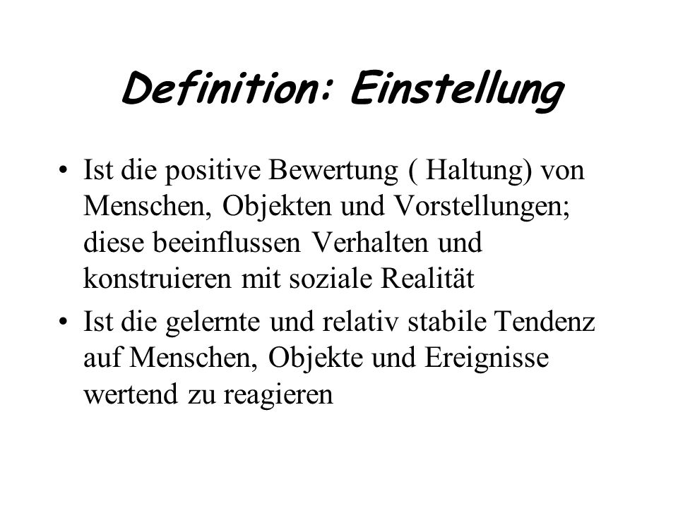 Definition: Einstellung