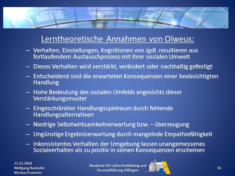 Lerntheoretische Annahmen von Olweus: