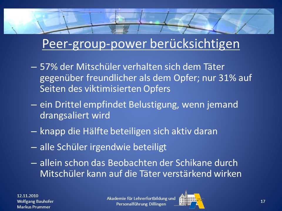 Peer-group-power berücksichtigen