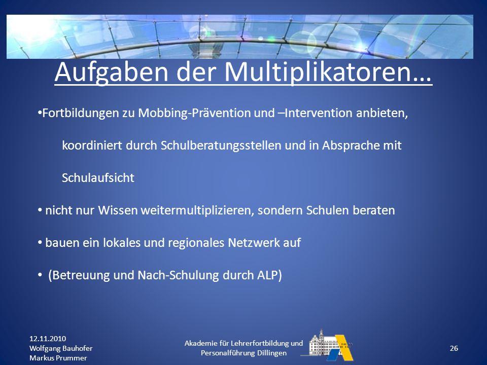 Aufgaben der Multiplikatoren…