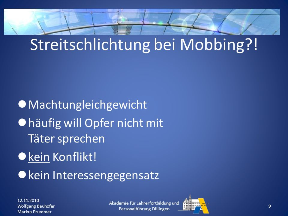 Streitschlichtung bei Mobbing !
