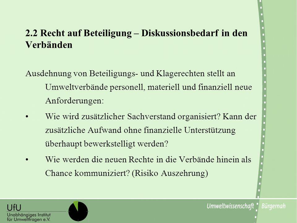 2.2 Recht auf Beteiligung – Diskussionsbedarf in den Verbänden
