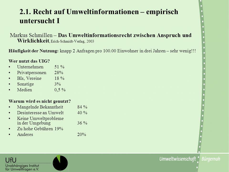 2.1. Recht auf Umweltinformationen – empirisch untersucht I