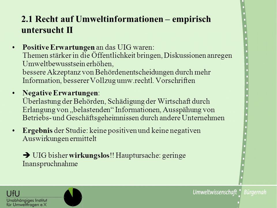 2.1 Recht auf Umweltinformationen – empirisch untersucht II