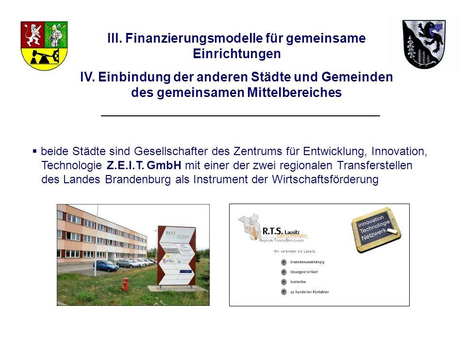 III. Finanzierungsmodelle für gemeinsame Einrichtungen