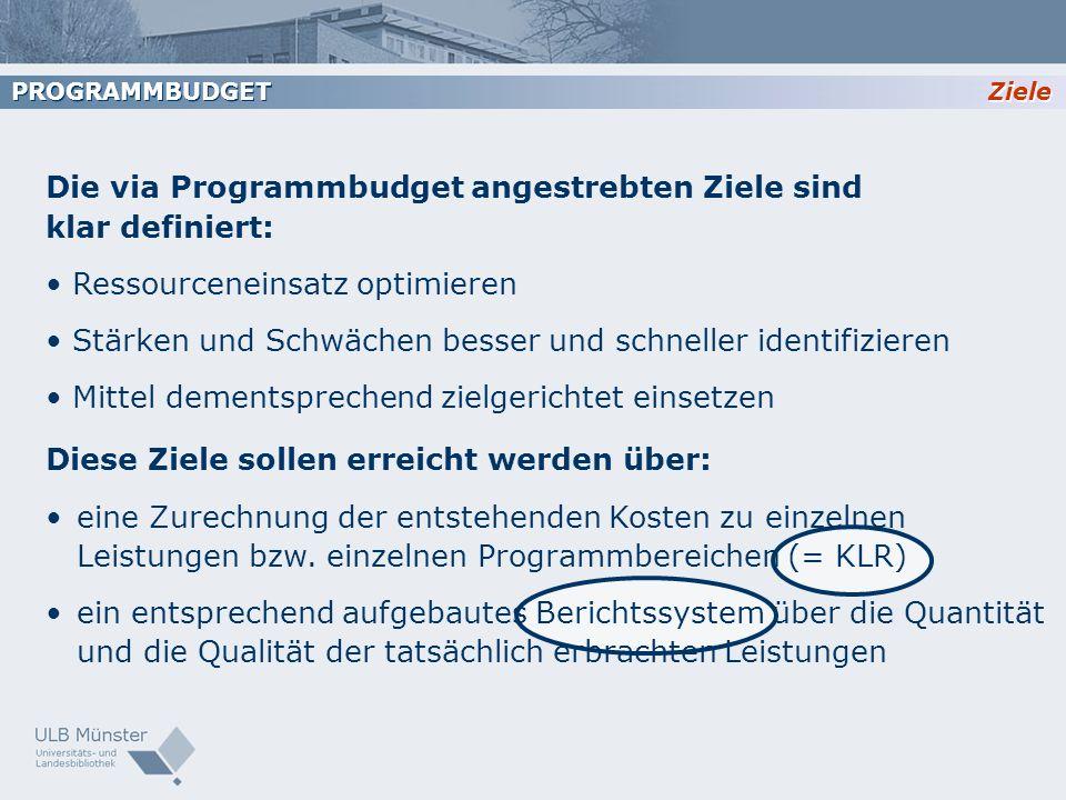 Die via Programmbudget angestrebten Ziele sind klar definiert: