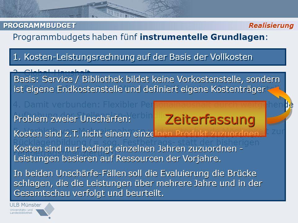 Zeiterfassung Programmbudgets haben fünf instrumentelle Grundlagen: