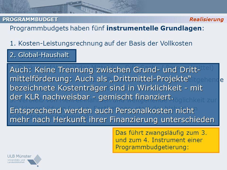 PROGRAMMBUDGET Realisierung. Programmbudgets haben fünf instrumentelle Grundlagen: 1. Kosten-Leistungsrechnung auf der Basis der Vollkosten.