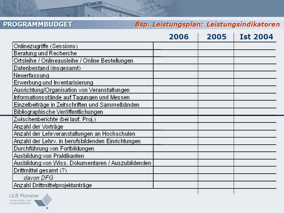 PROGRAMMBUDGET Bsp. Leistungsplan: Leistungsindikatoren 2006 2005 Ist 2004