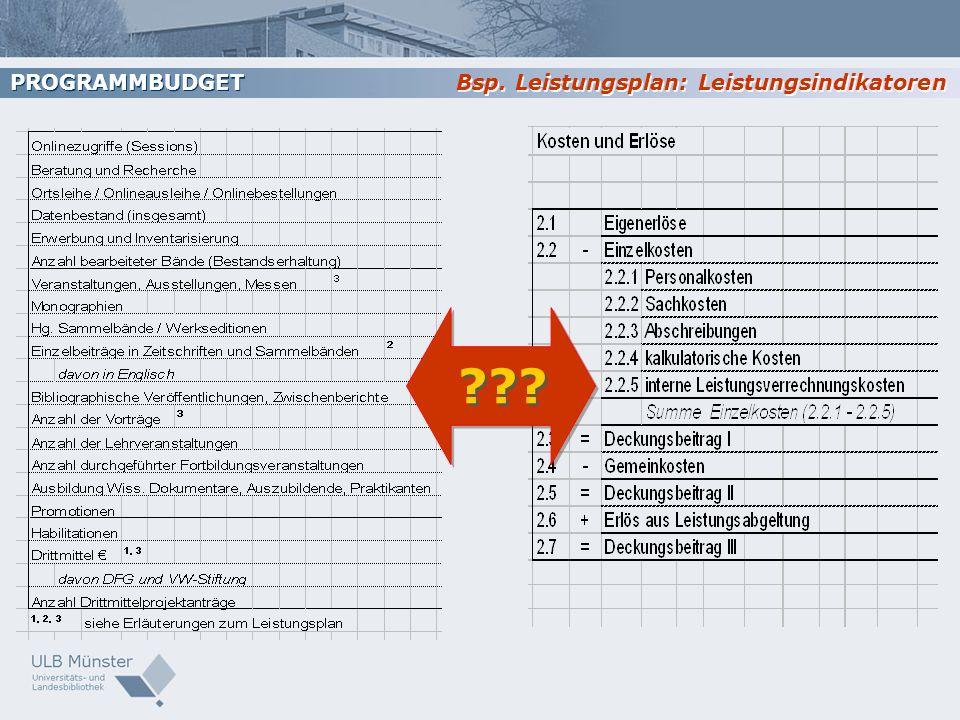 PROGRAMMBUDGET Bsp. Leistungsplan: Leistungsindikatoren