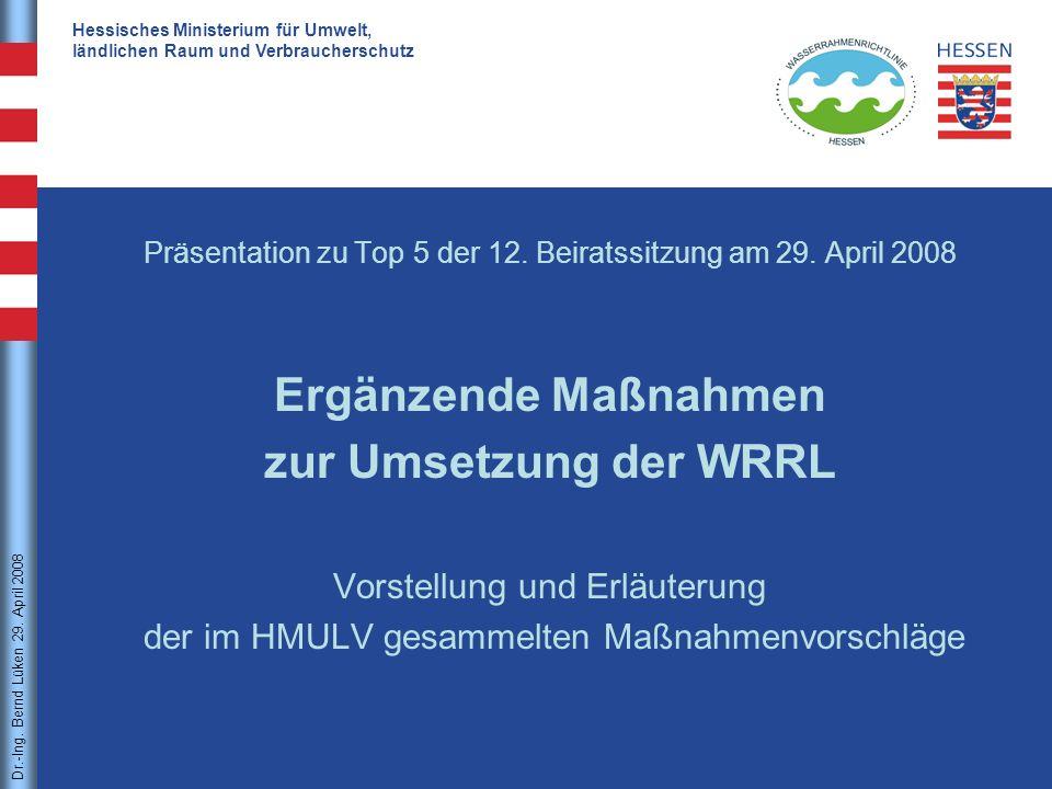 Ergänzende Maßnahmen zur Umsetzung der WRRL